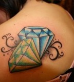 Green and Light Blue Diamond Girls Tattoo Design on Back