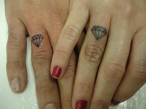 Sweet Diamond Girls Tattoo Design on Finger