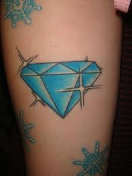 Cool Light Blue Diamond Girls Tattoo on Arm