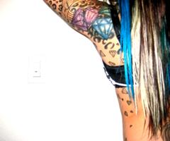 Cool Pink and Light Blue Diamond Girls Tattoo Design