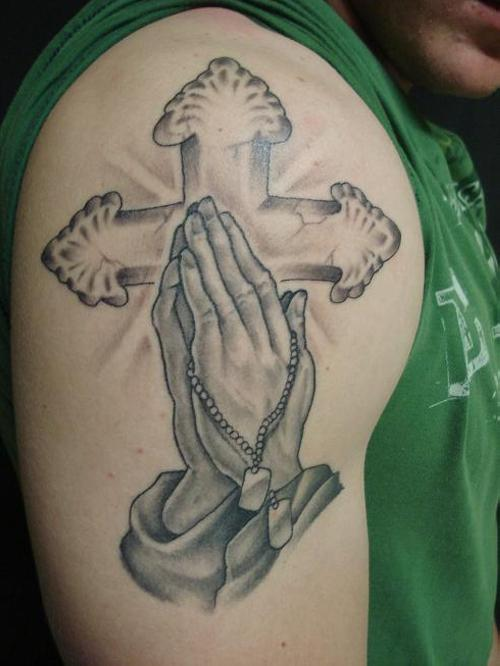 247300da5 Nice Praying Hands with Cross Background Tattoo Designs. Posted in gallery: Dog  Tag ...