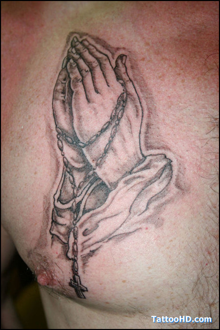 Praying Hands Tattoo With Dog Tags Praying Hands