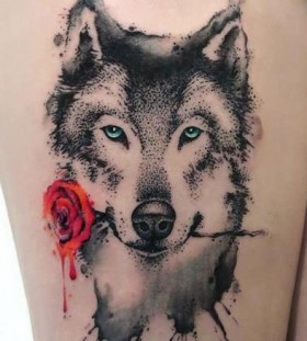 dotwork-wolf-and-red-rose-tattoos