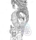 Cool Dragon Tiger Tattoo Sketch