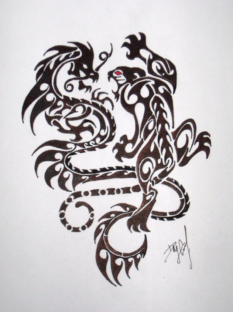 74cf0c48961be Crouching Indian Tiger Hidden Chinese Dragon Sketch - | TattooMagz ...
