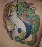 Colorful Dragon And Tiger Tattoo Picture