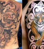 Beautiful Dragon And Tiger Tattoo Picture