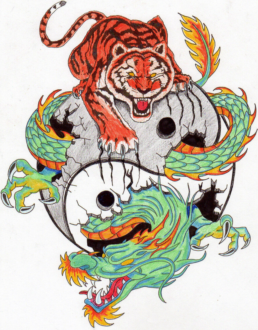 Colorful Tiger and Dragon Tattoo Design