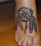 Graceful Dream Catcher Tattoo Design on Foot