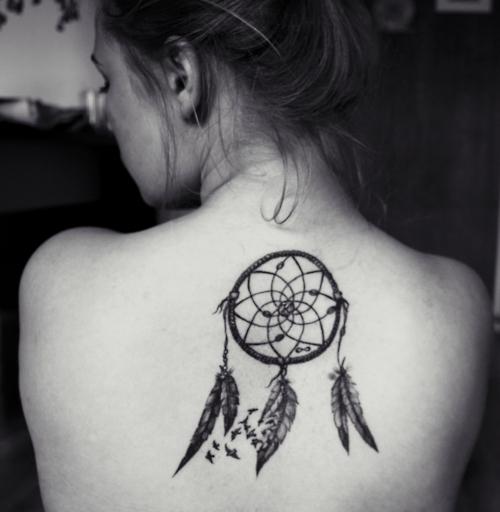 Amazing Dream Catcher Upper Back Tattoo Design