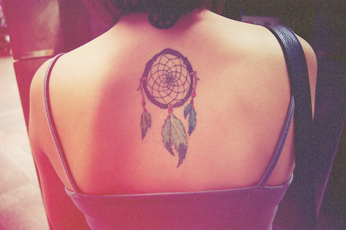 Stylish Dream Catcher Upper Back Tattoo Inspiration Picture