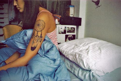 Girl with Fancy Dream Catcher Tattoo Art