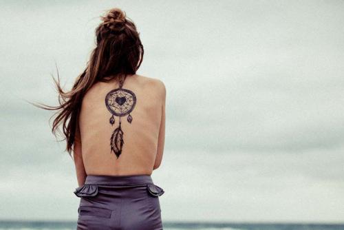 Appealing Unique Dream Catcher Back Tattoo Photo