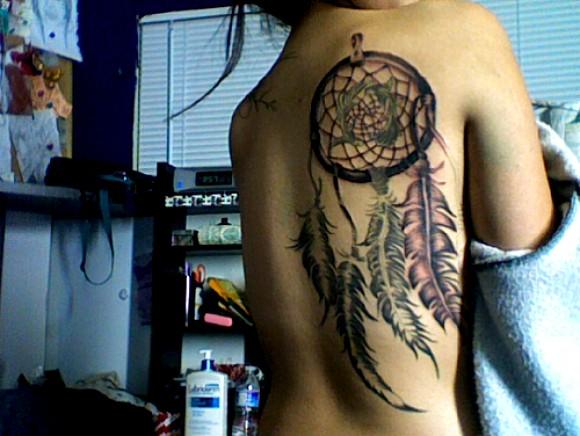 Amazing Creative Dreamcatcher Back Tattoo Design