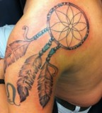 Awesome Dreamcatcher Tattoo Designs on Shoulder for Men