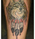 Beautiful Wolf and  Dream Catcher Tattoo Design