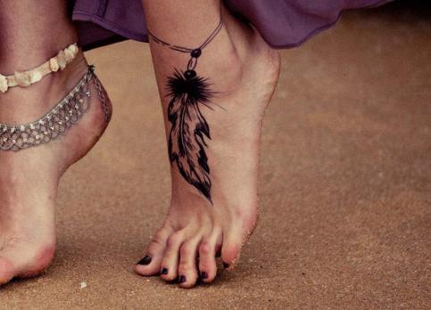Cute Dreamcatcher Tattoo on Foot for Girls