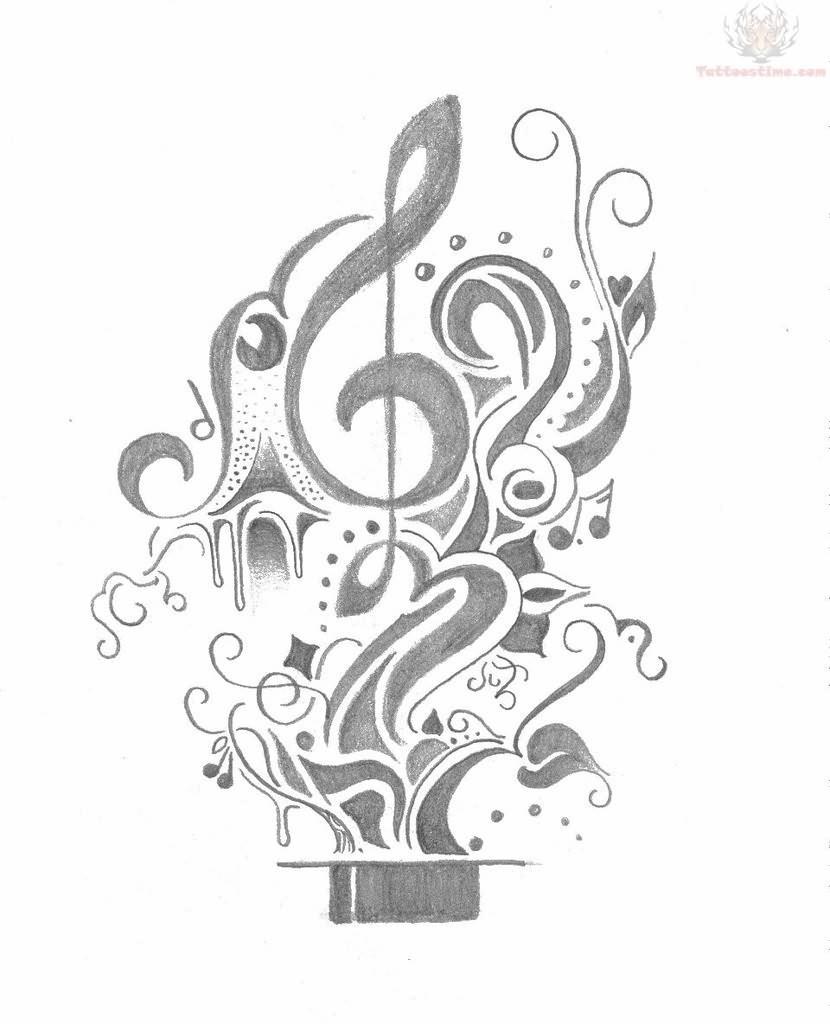Music Tattoos Design Sketch