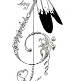 Outline Drawing of Dreamcatcher And Eagle Feathers Tattoo Design