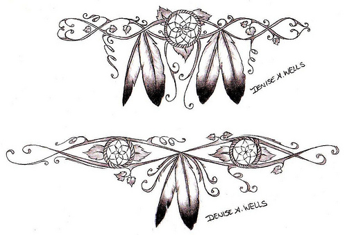 Two Outline Drawing of Eagle Feathers Tattoo Design by Denise