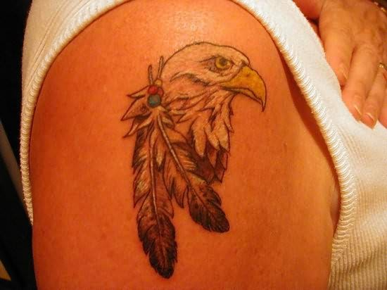 Cool Eagle Feather Tattoo Design for Men