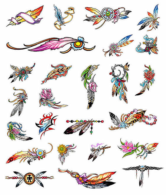 Various Feather Tattoos - Feather Tattoos Designs