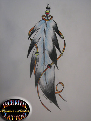 Native Indian Eagle Feather for Covering Up Old Tattoos