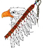 Pencil Sketch Tattoo Drawing Eagle and Eagle's Feather Totem