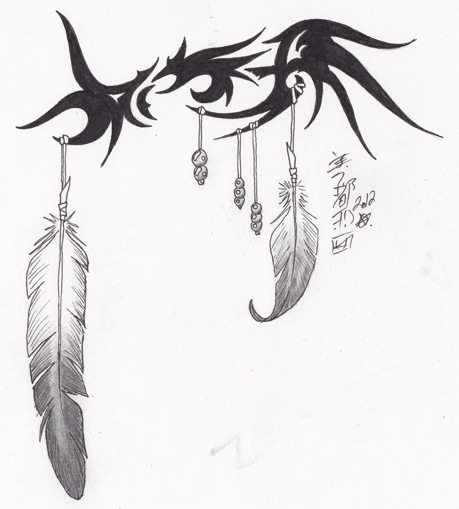 9b8b9d25d Tribal-Eagle Feather Tattoo Design by Syrazel (Deviantart ...