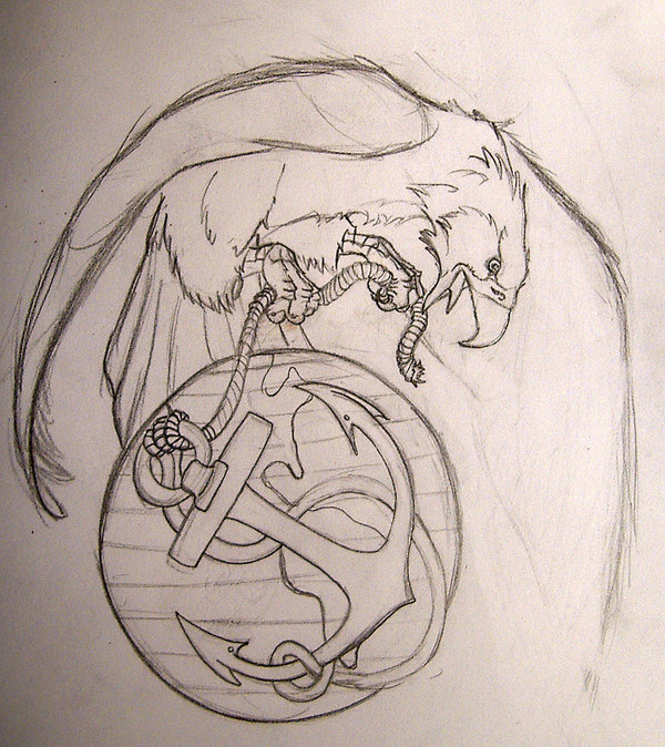 Eagle Globe And Anchor Tattoo Sketch By Tidma