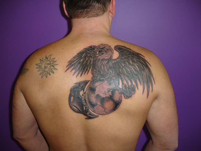 Awesome Eagle Globe And Anchor Tattoo on Back