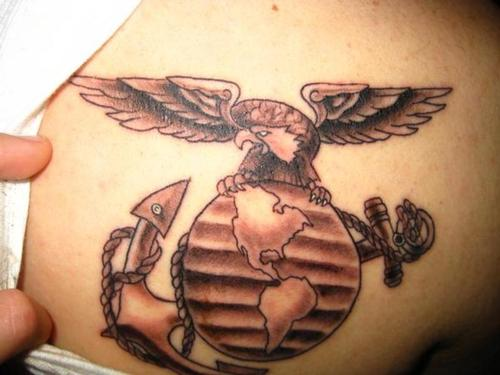 Eagle Globe And Anchor Brown Tattoo