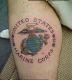 Eagle Globe And Anchor Military Corps Tattoo On Calf