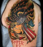 Great Marine Eagle Globe Anchor Tattoo on Shoulder
