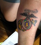 Purple Heart Eagle Globe And Anchor Tattoo