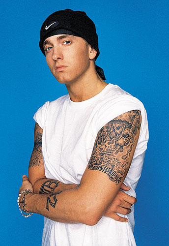 Ronnie R.I.P Tattoo on Eminem's Upper Left Arm