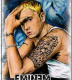 Eminem Portrait Showng His Left Arm Tattoos