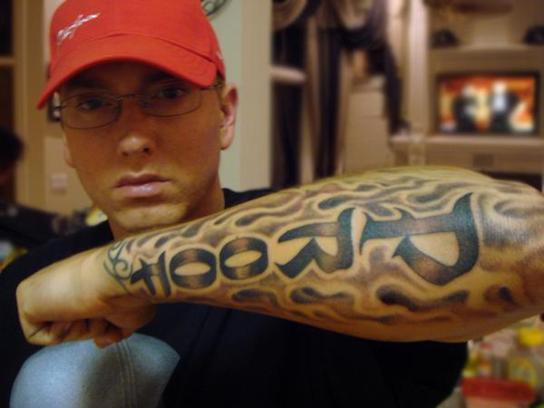 "Eminem ""Proof"" Flaming Lower Arm Tattoo"