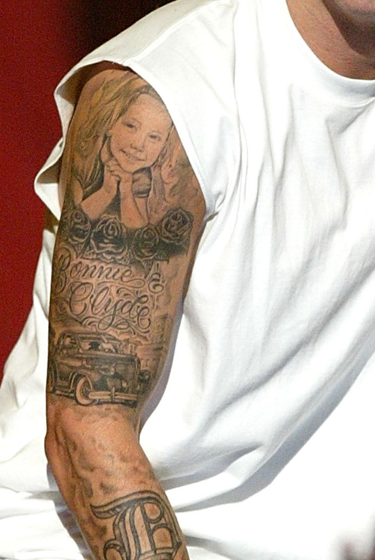 Eminem's Upper Sleeve Tattoo: The Daughter and Bonnie and Clyde Inspired Tattoo