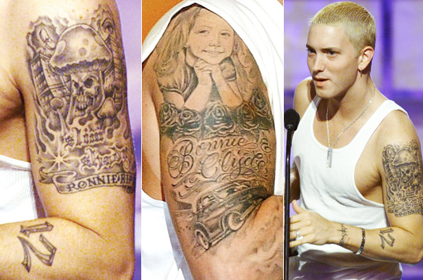 Eminem's Both Upper Arms Tattoos Close Up View