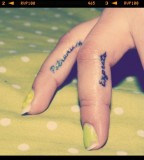 Beautiful Harry Potter Spell Expecto Patronum Tattoo on Side Fingers