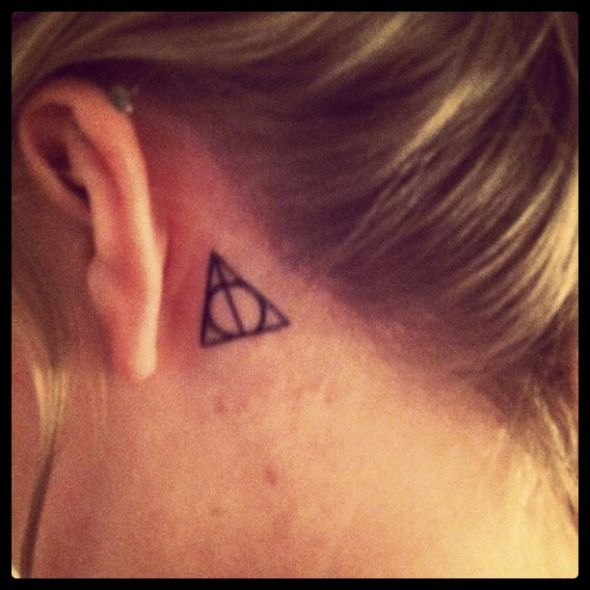 Exotic Harry Potter Triangle Symbol Tattoo Design Idea on Behind Ear for Girls