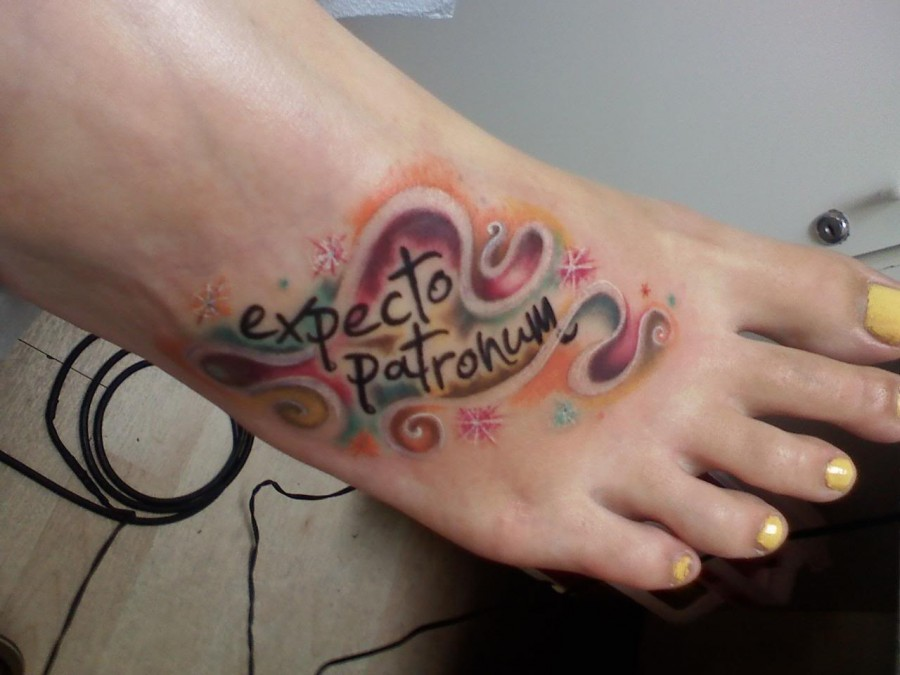 Exotic Swirly Colorful Expecto Patronum Tattoo Design for Girls