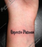 Simple yet Beauty Harry Porter Expecto Patronum Wrist Tattoo Design