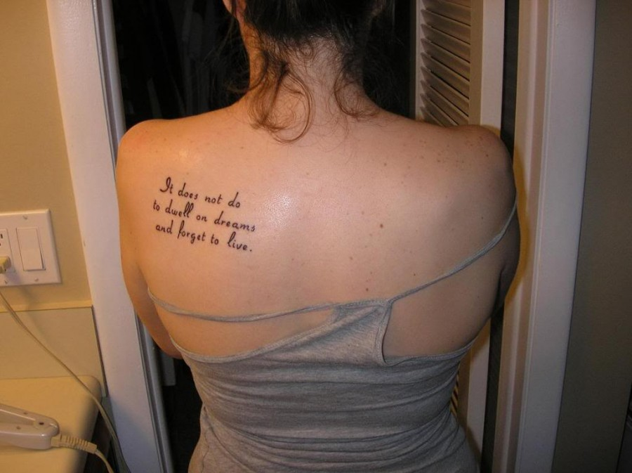 "Harry Potter Quote saying ""It does not do to dwell on dreams and forget to live"" Inspired Tattoo for Women"