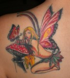 Sweet Fairy Shaped Girls Tattoo Design on Left Shoulder