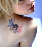 Gothic Style Fairy Shaped Tattoo Design Picture