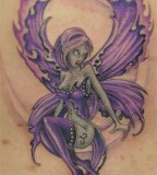 Purple Colored Fairy Shaped Tattoo Design