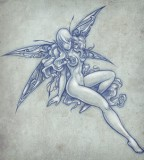 Fairy Shaped Tattoo Design Sketch Collection