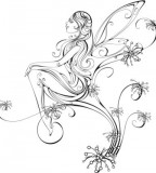 Cute Fairy Shaped Tattoo Design Sketch for Girls